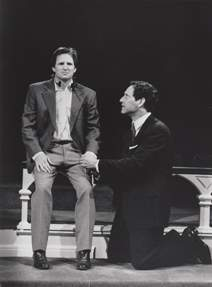 Andy Taylor (seated) and Robert Pescovitz (kneeling) at The Old Globe Theatre in San Diego
